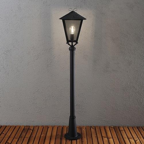 Trädgårdslykta Benu E27 svart ink stolpe-15534