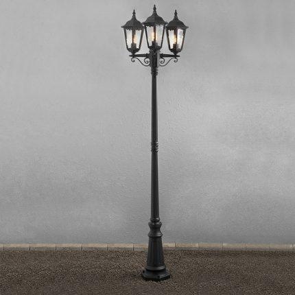 Stolplykta Firenze 3-arm E27 svart ink stolpe-15565