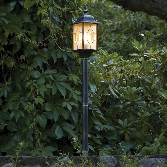 Trädgårdslykta Milano ink stolpe E27 svart/silver-13257