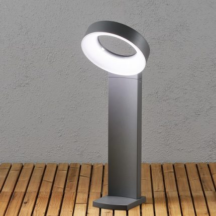 Trädgårdslykta Asti ink stolpe LED grå-13285