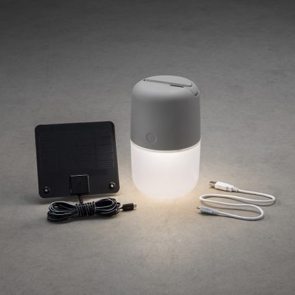 Solcell lAssisi l/USB LED grå-14064