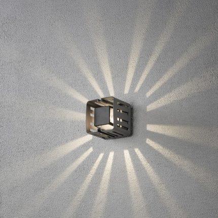 Vägglykta Pescara fyrkant mörkgrå-14456