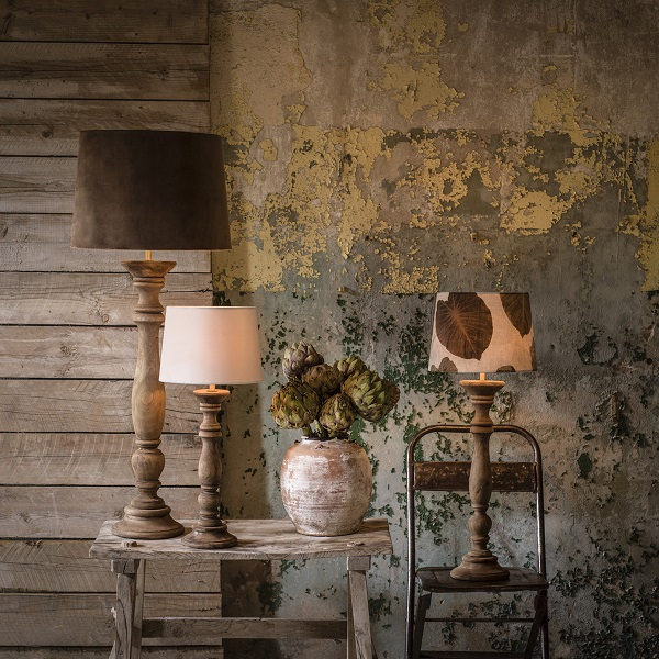 Lodge Lampfot Vintage white 63cm-11652