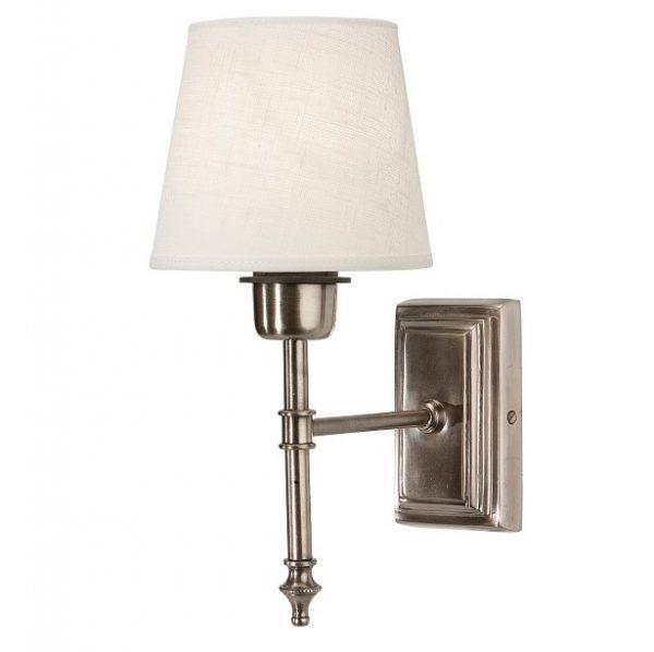 Vägglampa Classic Silver, Inkl skärm Mia 14cm offwhite lin-0