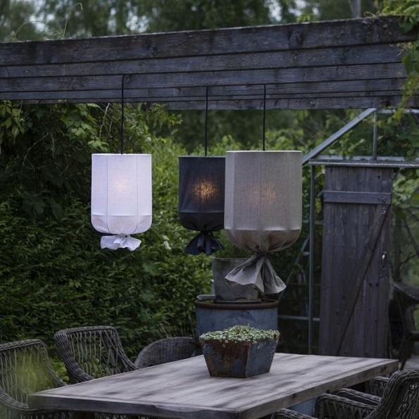 Round Outdoor Lin Gråsvart 30cm-11827